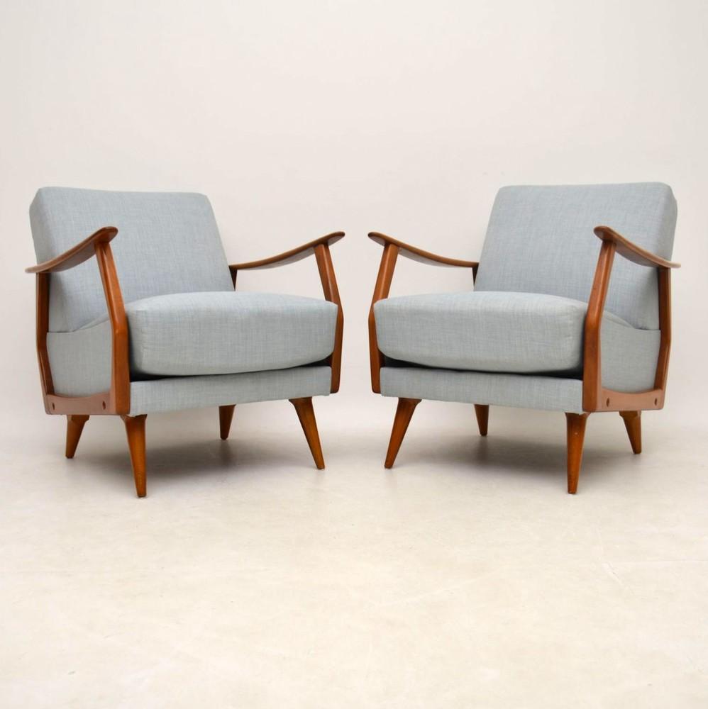 Pair Of Danish Retro Armchairs Vintage 1950'S