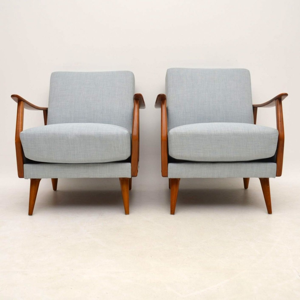 Pair Of Danish Retro Armchairs Vintage 1950 S