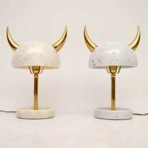 Pair Of Marble & Brass Lamps By Merve Kahraman
