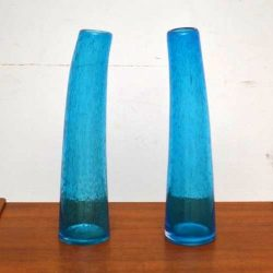 Pair of Retro Blown Glass Vases Vintage 1960's