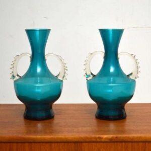Pair of Retro Glass Vases Vintage 1960's