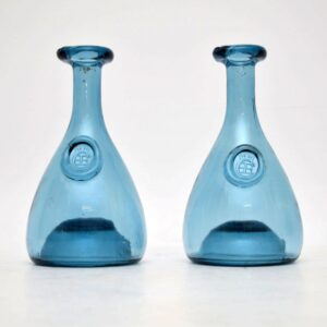 Pair of Danish Glass Decanters by Holmegaard Vintage 1950's