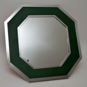 Retro Chrome & Green Leather Mirror Vintage 1970's