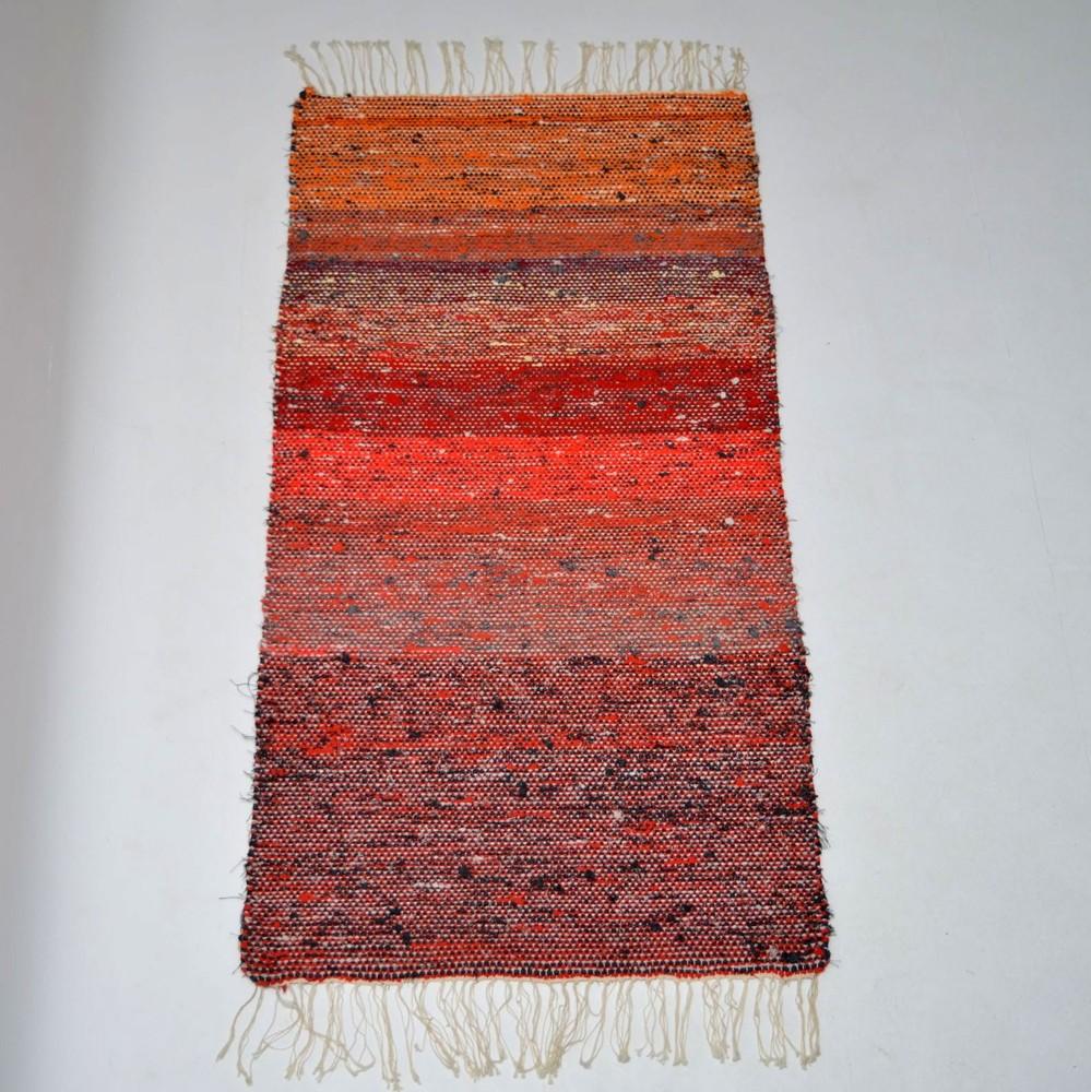 Retro Scandinavian Woven Wool Rug Vintage 1960 S