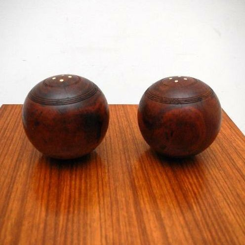 Pair of Antique Solid Mahogany Vintage Bowls