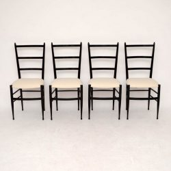 Set of 4 Retro Italian Gio Ponti Style Dining Chairs Vintage 1950's