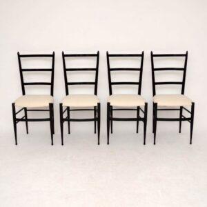 Set of 4 Retro Italian Gio Ponti Style Dining Chairs Vintage 1950's
