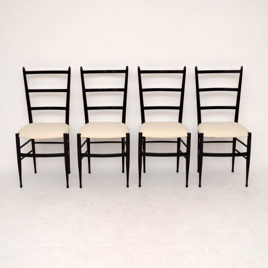 Set Of 4 Retro Italian Gio Ponti Style Dining Chairs Vintage 1950u0027s