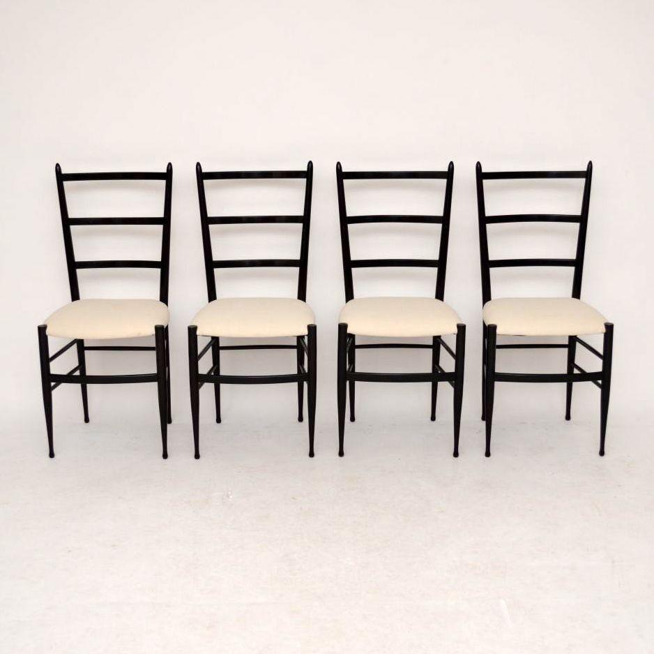 Set Of 4 Retro Italian Gio Ponti Style Dining Chairs Vintage 1950u0027s