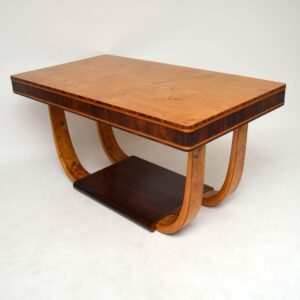 Art Deco Burr Maple & Rosewood Dining Table Vintage 1920'S