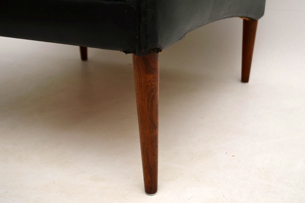Danish Retro Leather Amp Rosewood Armchair By Hans Olsen