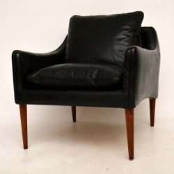 Danish Retro Leather & Rosewood Armchair by Hans Olsen Vintage 1950's