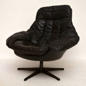 Danish Retro Leather Swivel Armchair by Bramin Vintage 1960's