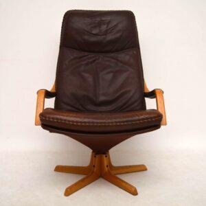 Danish Retro Leather Swivel Armchair & Stool Vintage 1970's