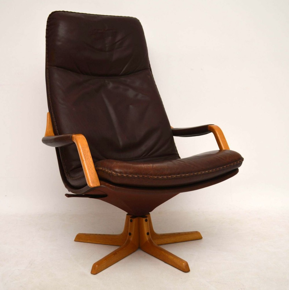 Danish Retro Leather Swivel Armchair Amp Stool Vintage 1970