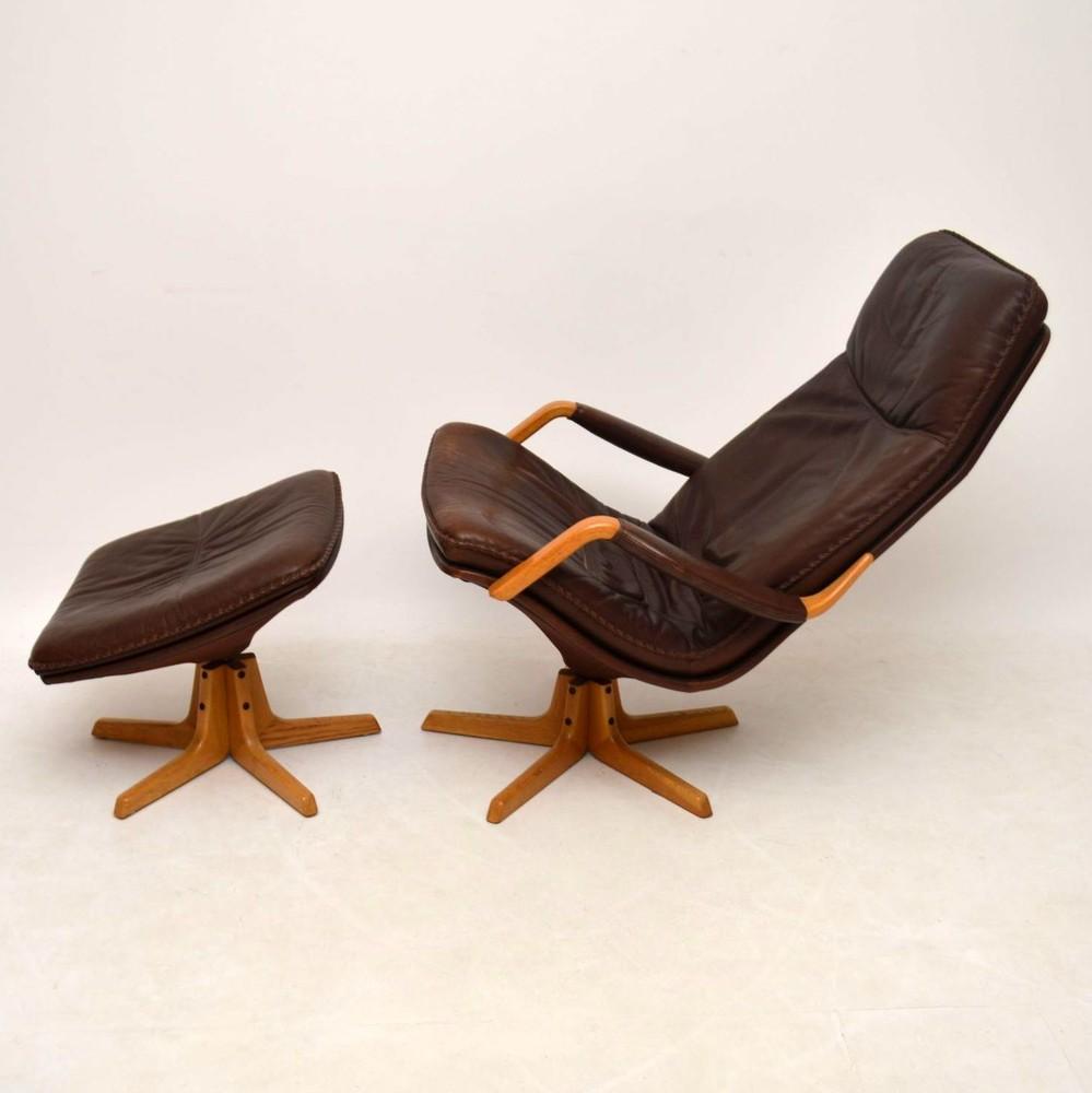 Danish Retro Leather Swivel Armchair Amp Stool Vintage 1970