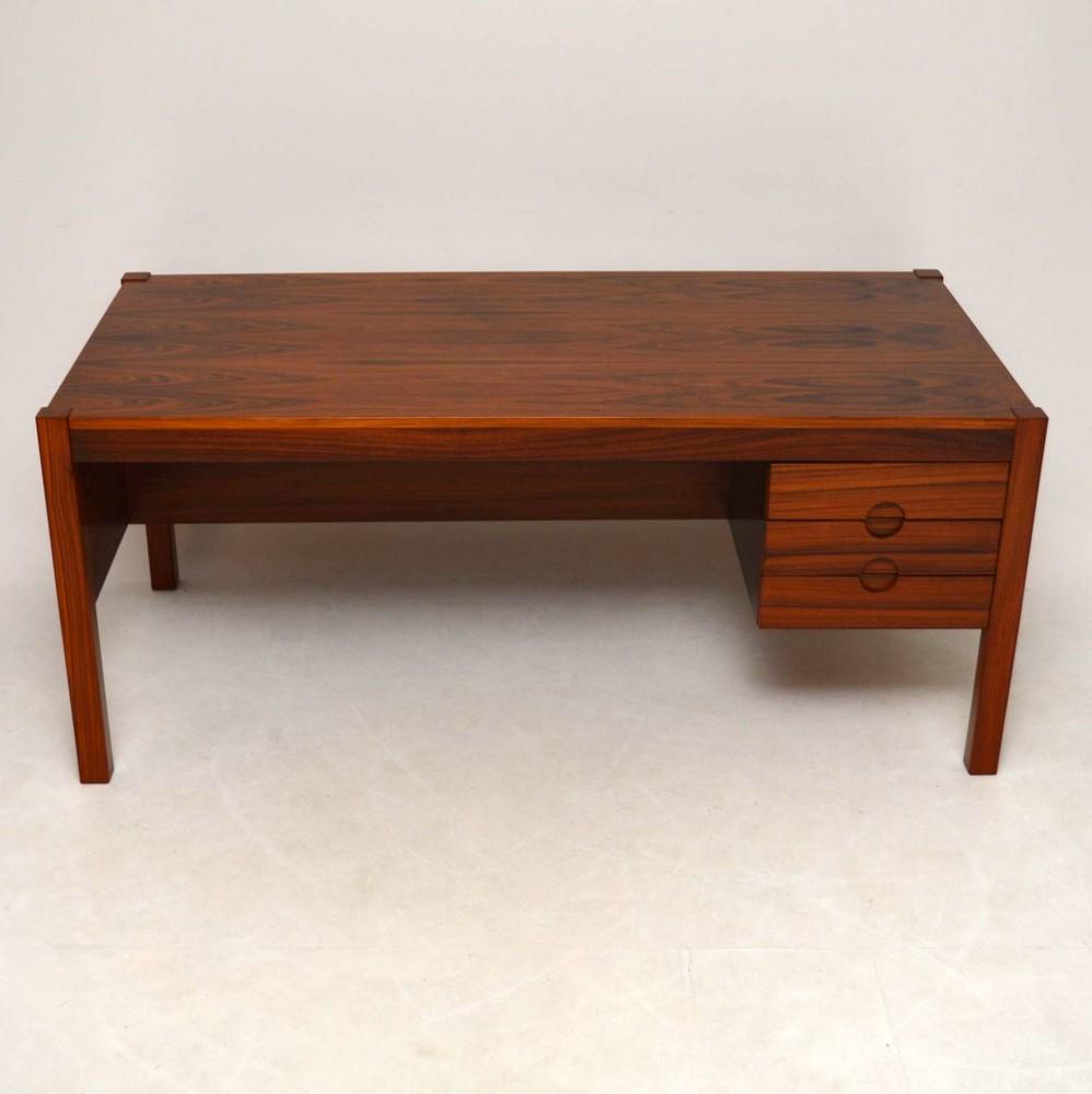 Danish Retro Rosewood Executive Desk Vintage 1960 S