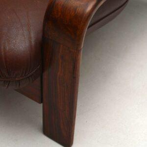 Danish Retro Rosewood & Leather Sofa Vintage 1960's