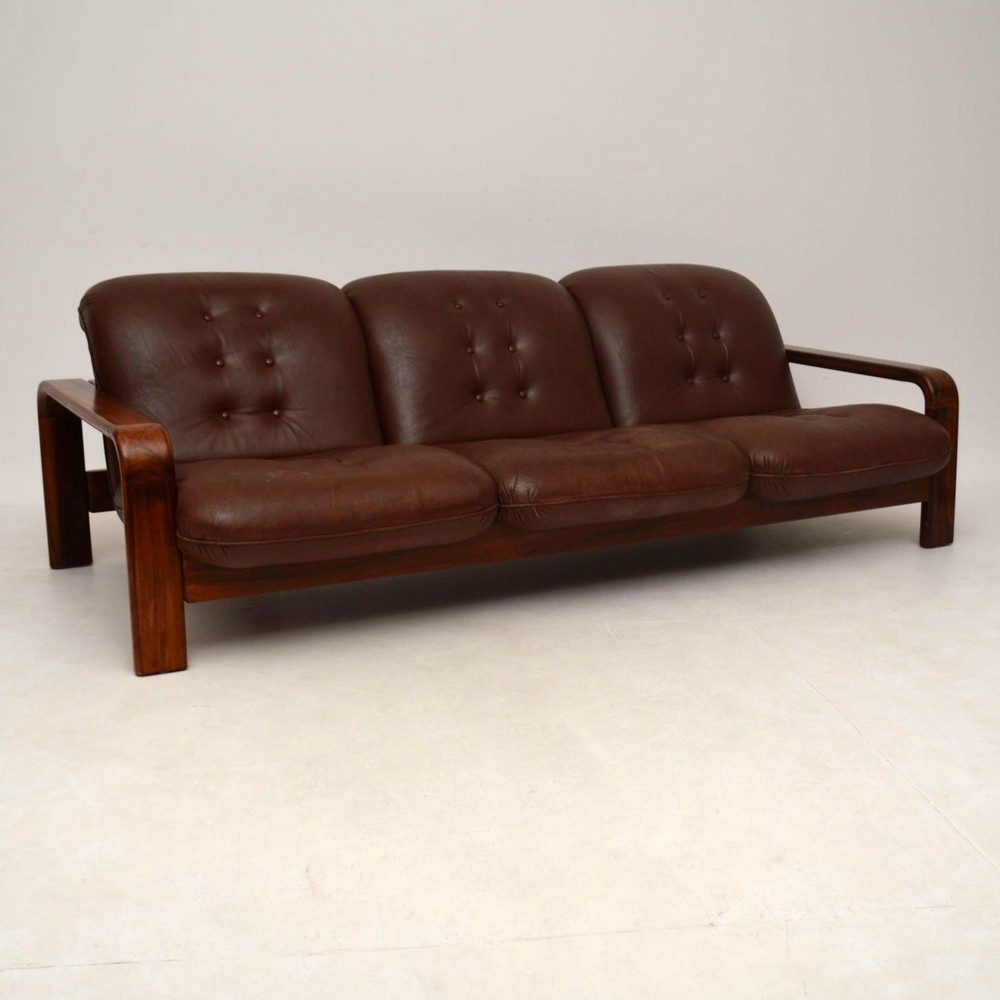 Danish Retro Rosewood Amp Leather Sofa Vintage 1960 S