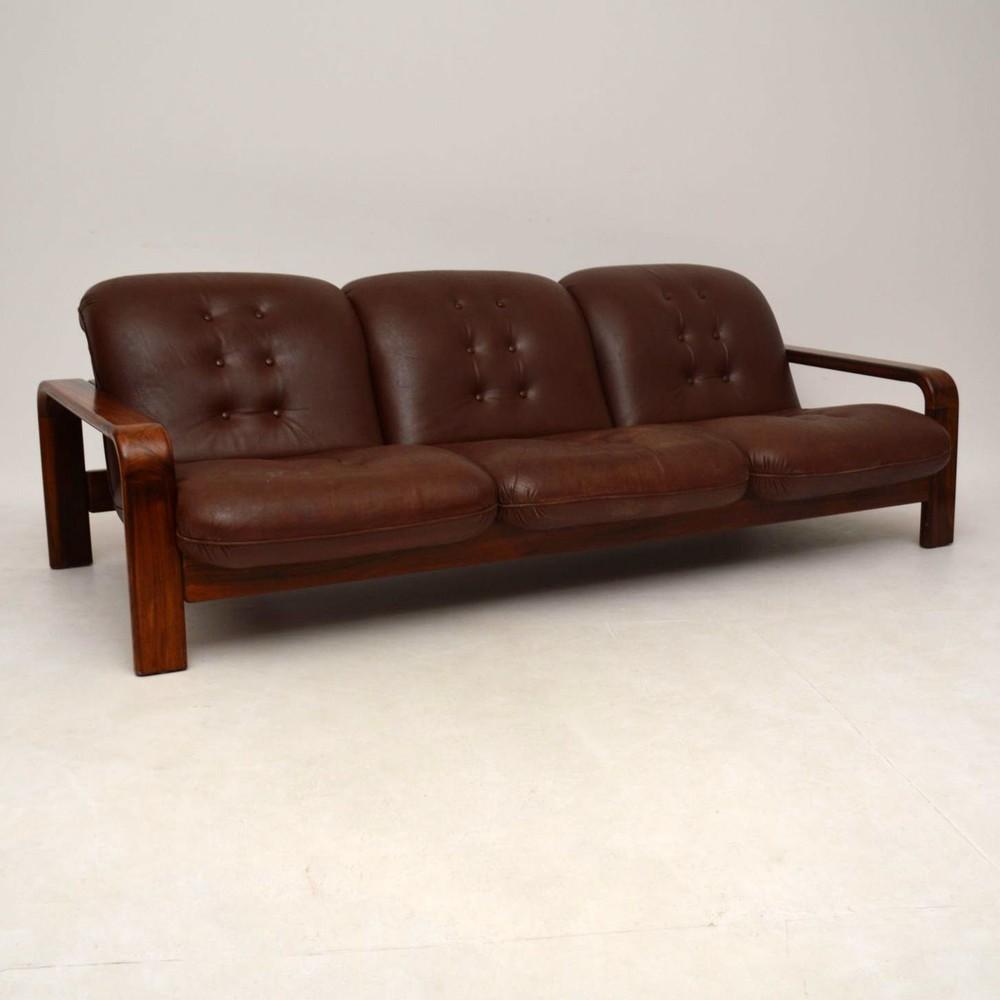 danish retro rosewood leather sofa vintage 1960 s
