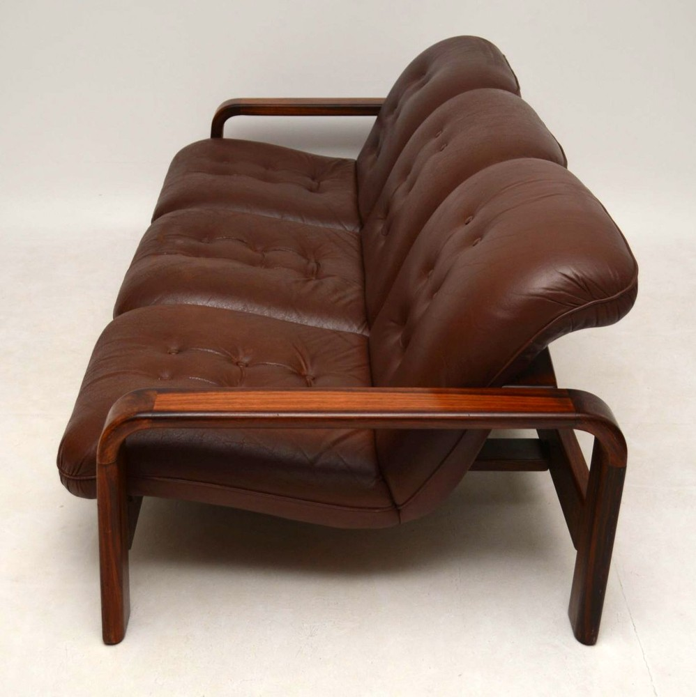 Vintage Upholstered Leather Sofa: Danish Retro Rosewood & Leather Sofa Vintage 1960's