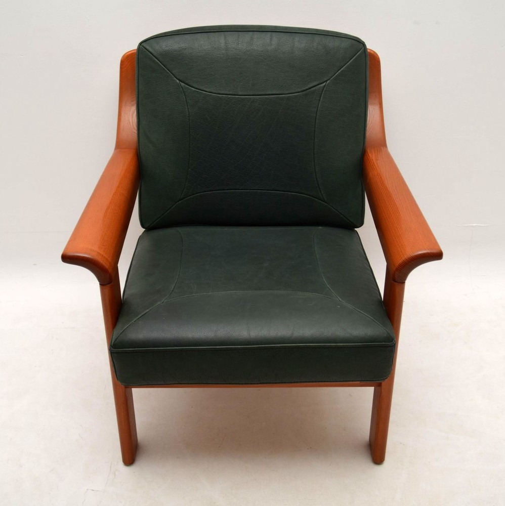 Danish Retro Teak & Leather Armchair Vintage 1970's ...