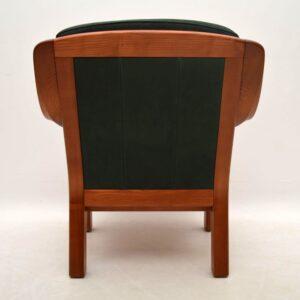 Danish Retro Teak & Leather Armchair Vintage 1970's