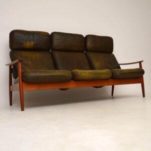 Danish Retro Teak & Leather Sofa by Arne Vodder Vintage 1960's