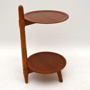 Danish Retro Teak & Oak Cake Stand / Side Table Vintage 1960'S
