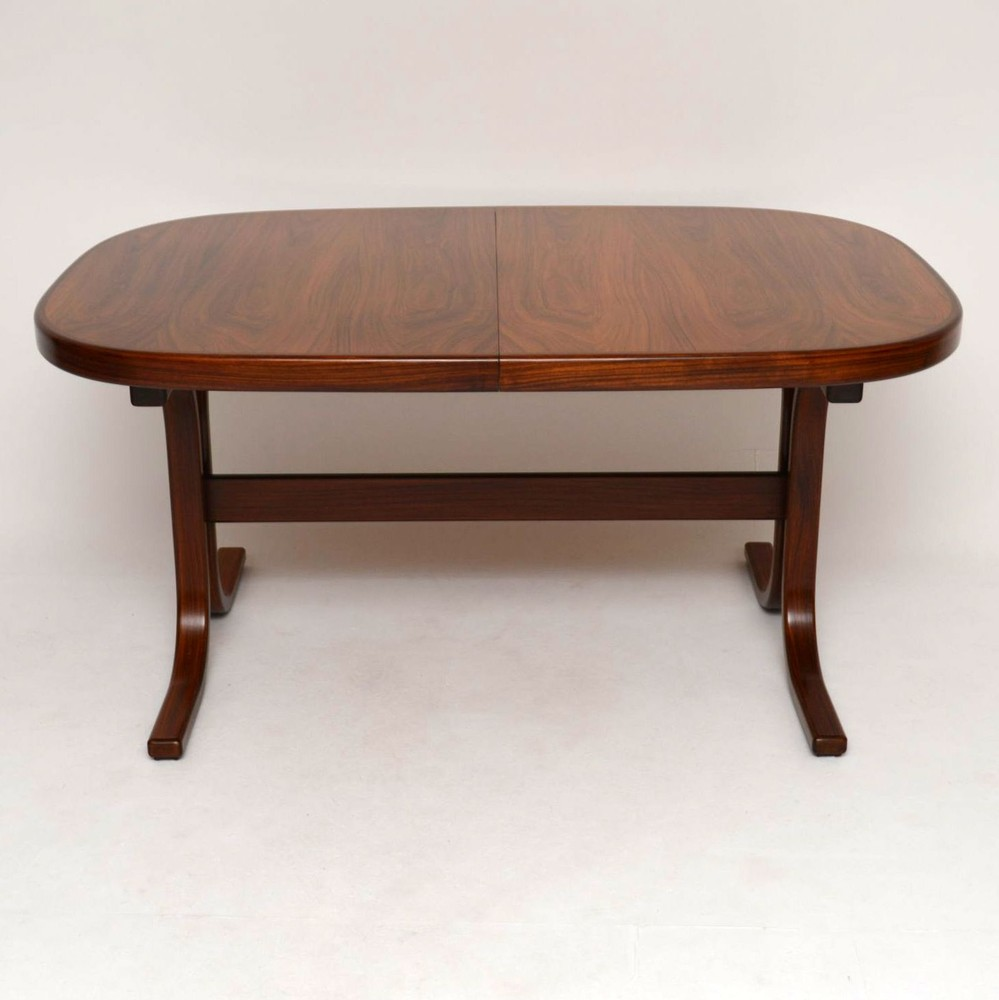 Danish Rosewood Extending Dining Table Vintage 1960 S