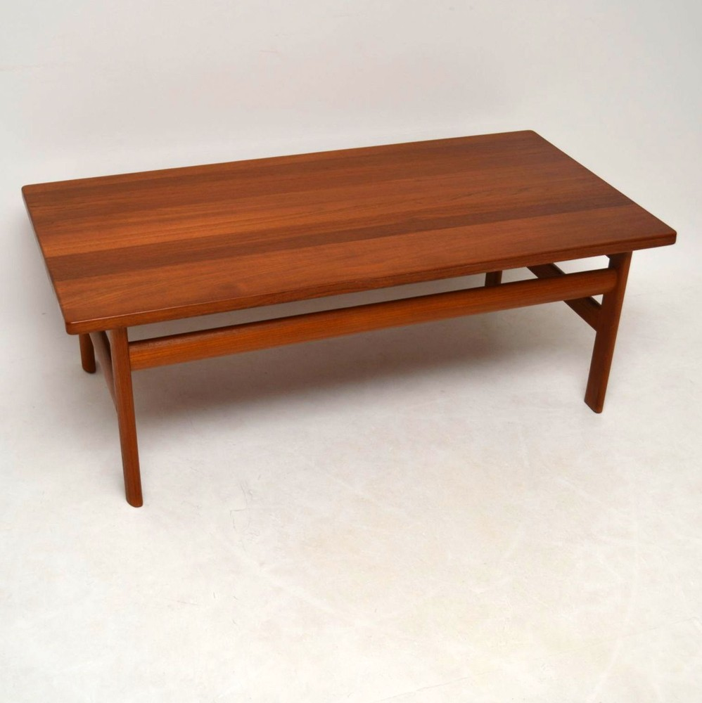 Vintage Teak Coffee Tables: Danish Solid Teak Retro Coffee Table By Komfort Vintage