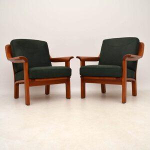 Pair of Danish Retro Teak & Leather Armchairs Vintage 1970's