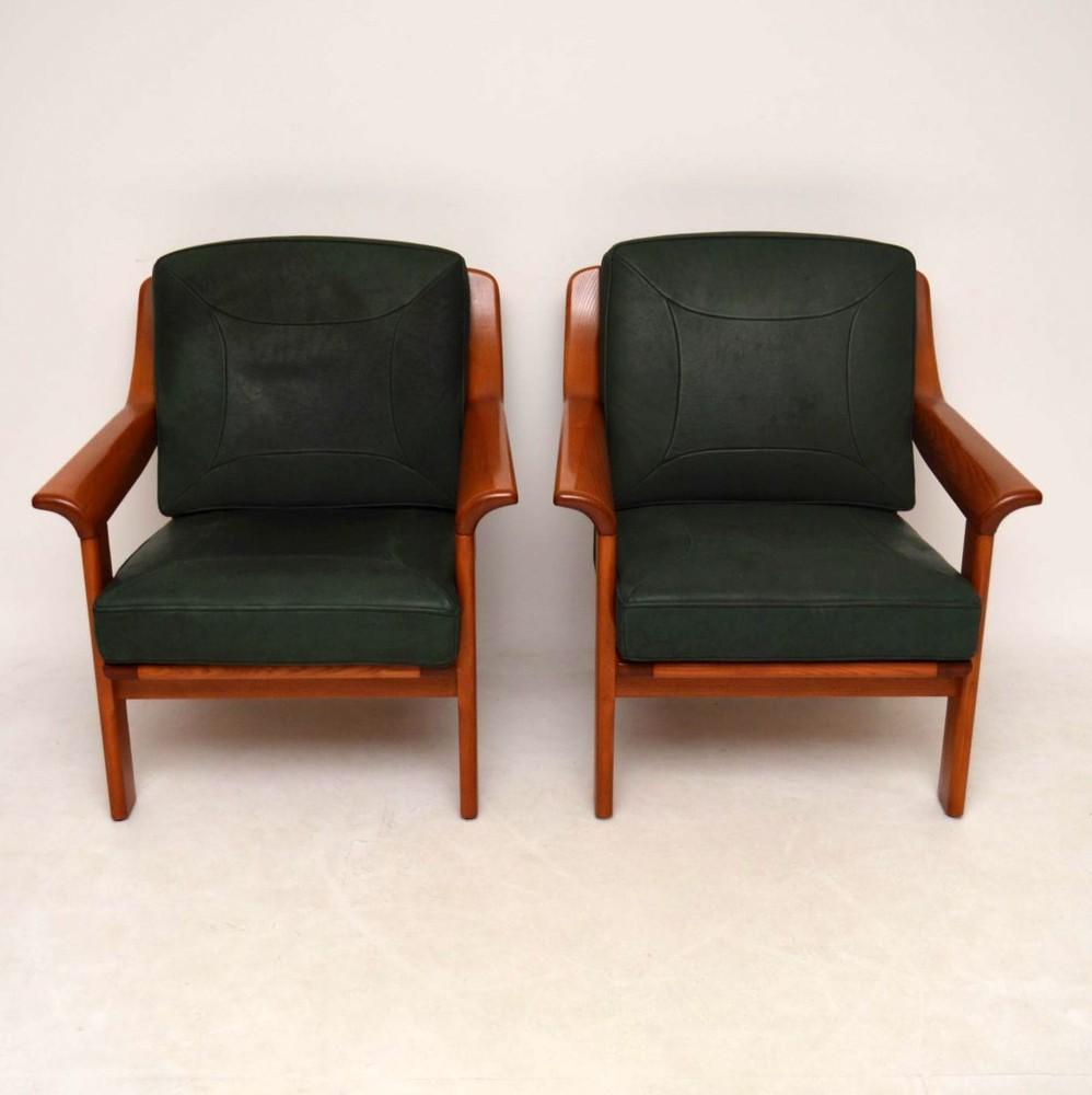 Pair Of Danish Retro Teak Amp Leather Armchairs Vintage 1970