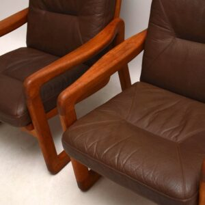 Pair of Danish Retro Teak & Leather Armchairs Vintage 1970's