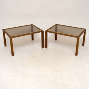 Pair Of Retro Brushed Aluminium Side Tables Vintage 1970'S