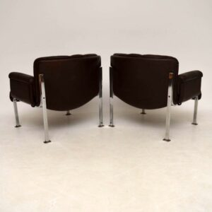 Pair of Retro Leather & Chrome Armchairs by Girsberger Vintage 1960's