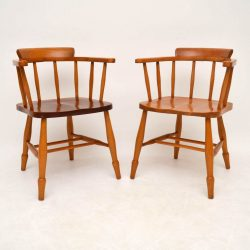 Pair of Retro Solid Elm Captain's Armchairs Vintage 1950's
