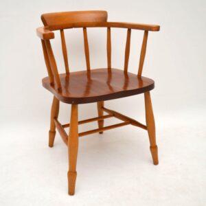 Pair of Retro Solid Elm Captain's Armchairs Vintage 1950's