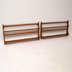 Pair of Retro Solid Elm Hanging Bookshelves / Plate Racks by Ercol Vintage 1960's