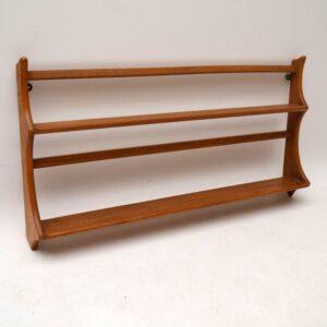 Pair of Retro Solid Elm Hanging Bookshelves / Plate Racks by Ercol Vintage 1960's