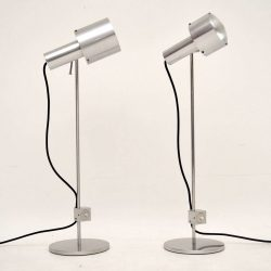Pair of Retro Steel Table Lamps Vintage 1960's