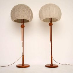 Pair of Retro Teak Rise & Fall Lamps by Temde Vintage 1960's