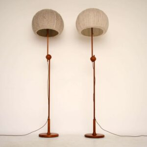 Pair of Retro Teak Rise & Fall Lamps by Temde Vintage 1960's