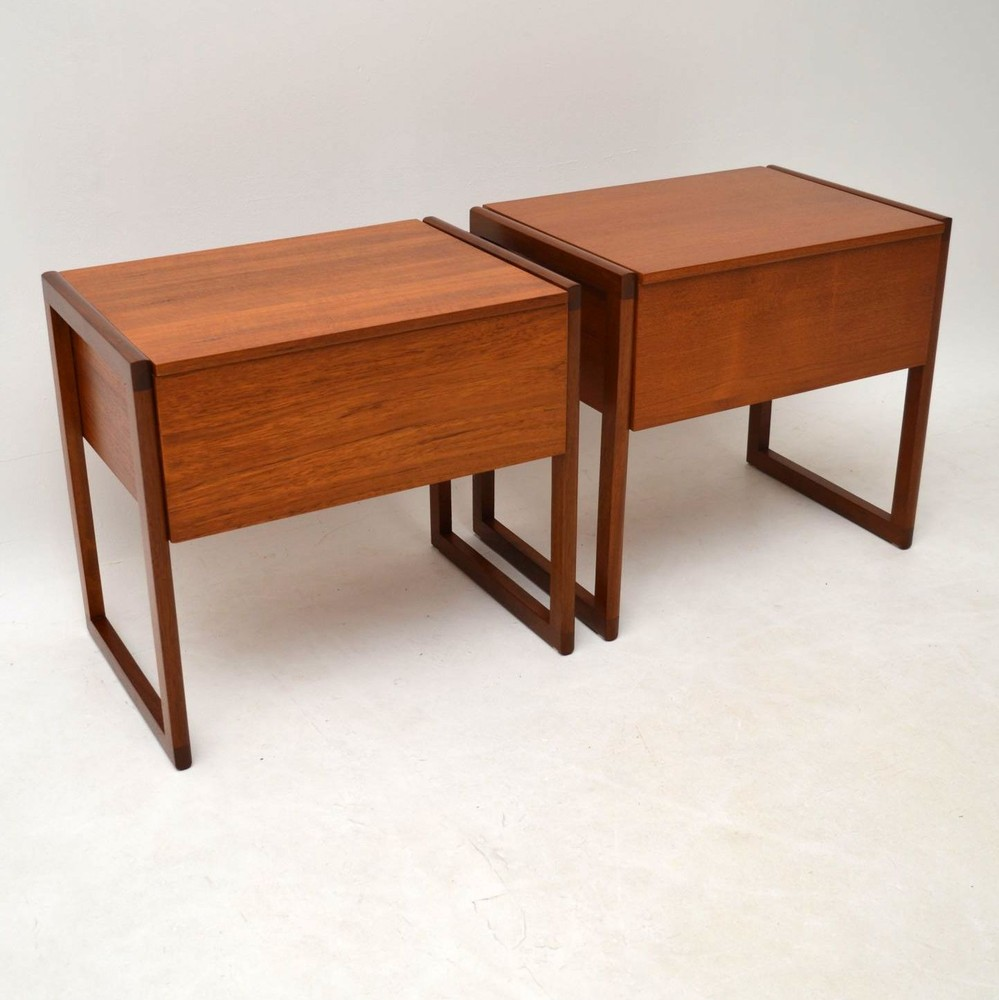 Pair Of Retro Teak Side Tables Sewing Boxes Vintage 1960