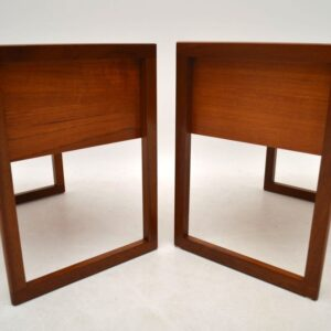 Pair Of Retro Teak Side Tables / Sewing Boxes Vintage 1960'S