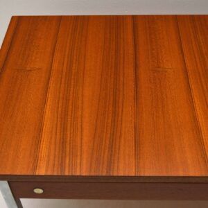 Pair Of Retro Teak & Steel Side Tables Vintage 1960'S