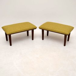 Pair of Retro Walnut 'Comfie' Stools by Le Grest Vintage 1960's