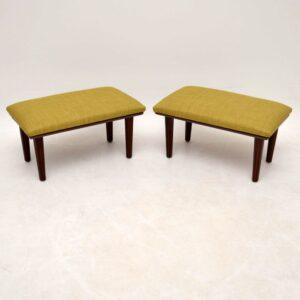 Pair of Retro Walnut 'Comfie' Stools by Le Grest Vintage 1960's