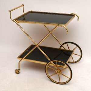 Retro Brass Drinks Trolley / Serving Table Vintage 1960'S