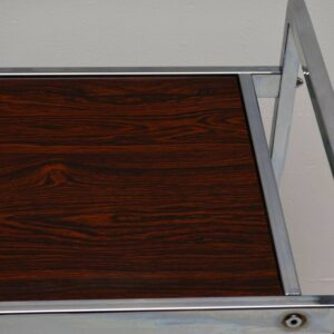 Retro Chrome & Rosewood Effect Side Table Vintage 1970'S